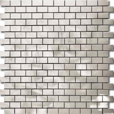 Metal Border Pure Metal Brick Staggered Mosaic 1 x 2 Graffiato/Brushed Tile & Stone