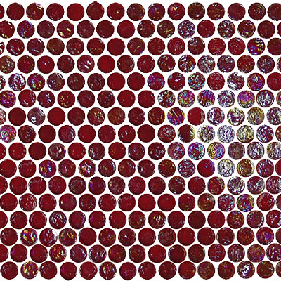 Onix Mosaico Geoglass Circle Circle 50 Fire Red Tile & Stone