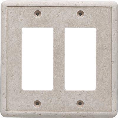 Questech Dorset Switch Plates - Travertine Double GFCI Tile & Stone