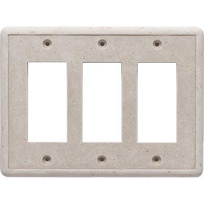 Questech Dorset Switch Plates - Travertine Triple GFCI Tile & Stone
