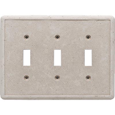 Questech Dorset Switch Plates - Travertine Triple Toggle Tile & Stone