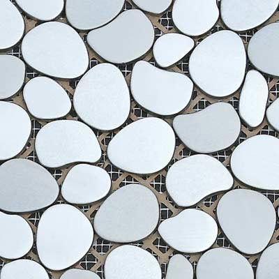 Solistone Chromatic 12 x 12 Metal Pebbles Aurora (Polished Silver) Tile & Stone