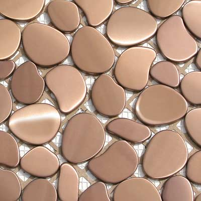 Solistone Chromatic 12 x 12 Metal Pebbles Orbit (Matte Copper) Tile & Stone