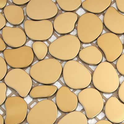Solistone Chromatic 12 x 12 Metal Pebbles Solar (Matte Gold) Tile & Stone