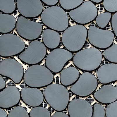 Solistone Chromatic 12 x 12 Metal Pebbles Umbra (Matte Black) Tile & Stone