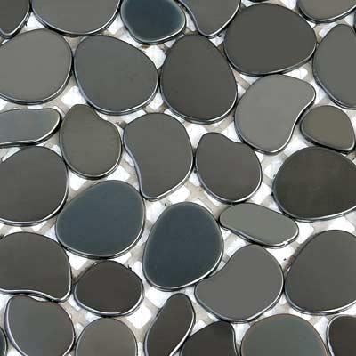 Solistone Chromatic 12 x 12 Metal Pebbles Zenith (Polished Black) Tile & Stone