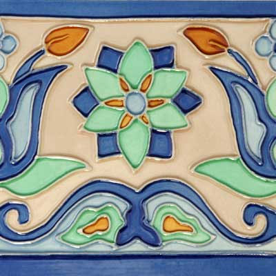 Solistone Hand Painted Mission Deco Tiles 6 x 6 Tulips Tile & Stone