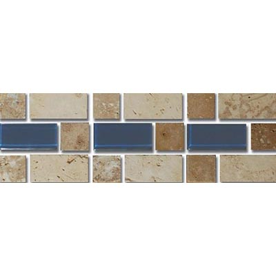 Tesoro Decorative Collection - Mardin 3 x 9 Listello Beige Noce Dark Blue Glass #71 Tile & Stone