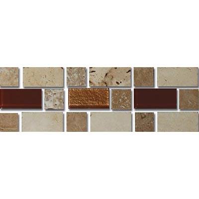 Tesoro Decorative Collection - Mardin 3 x 9 Listello Beige Noce Mocha Copper Glass Mix #72 Tile & Stone