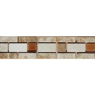 Tesoro Decorative Collection - Mersin 2.5 x 10 Listello Botticino Emperador Copper Glass #82 Tile & Stone