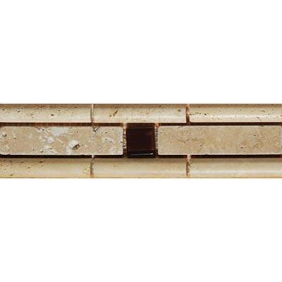 Tesoro Decorative Collection - Samsun 2.5 x 9 Listello Beige Noce Mocha Glass #91 Tile & Stone