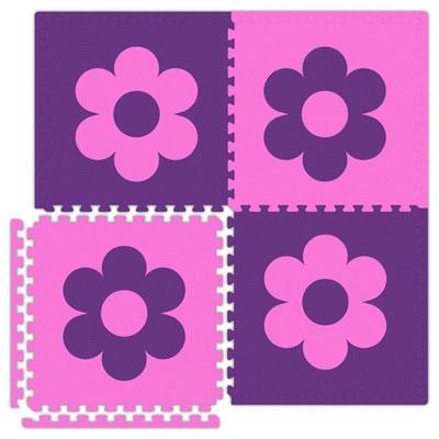 Alessco, Inc. Economy Reversible Soft Floors Pink w Purple Flower / Purple w Pink Flower Rubber Flooring