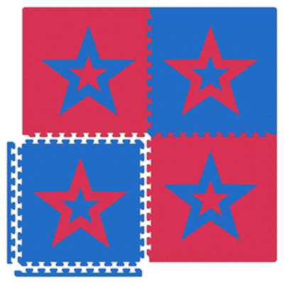 Alessco, Inc. Economy Reversible Soft Floors Red w Royal Blue Star / Royal Blue w Red Star Rubber Flooring