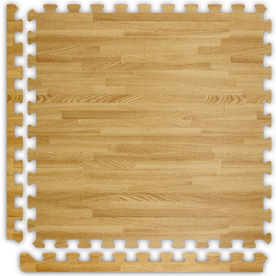 Alessco, Inc. Soft Woods with Corner/Border Light Oak Inside Rubber Flooring