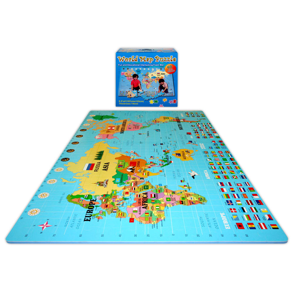 Alessco, Inc. World Map World Map Tile Set Rubber Flooring