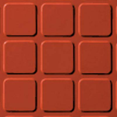 Roppe Performance Compound - Raised Square Design Tangerine Rubber Flooring